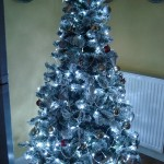 Winter wonderland tree in whites, golds, silvers & dots of red