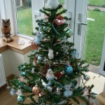 Artificial tree in sky blue & peach
