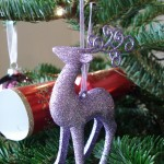 Lilac glitter reindeer tree decoration
