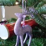 Lilac glitter reindeer tree decoration