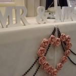 String beads & heart centre piece