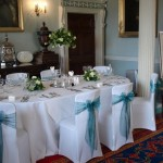 Culzean Castle Dining Room Dressed in Teal Blue with Table Plan