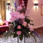 Pedestal arrangement in pink, blue & purple
