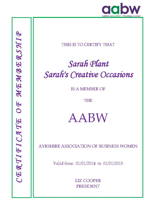 aabw member certificate for 2014